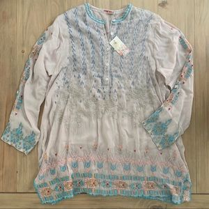 Johnny Was | Blush Pink Embroidered Jardin Tunic